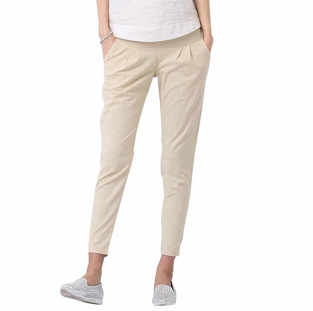 Giftpocket Women's Cotton Skinny Leg Maternity Pants, Elastic Band, Adjustable Size