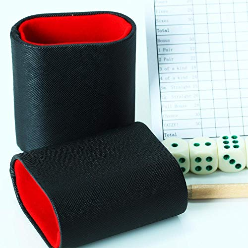 Volin Crik Mini Dice Cup Set, Hand-Made Dice Cups with 5 Dice and It Fit Inside Many Board Games Such As - Cup Leather Backgammon Dice