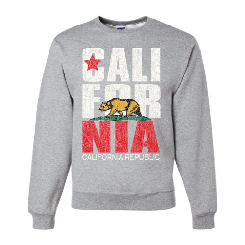 California Republic Vintage Retro Crewneck Sweatshirt - Ash Small