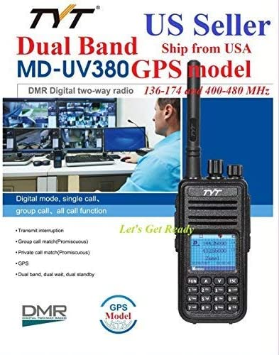 TYT MD-UV380 GPS Version Dual Band 136-174 /& 400-480 MHz DMR Digital//Analog Radio