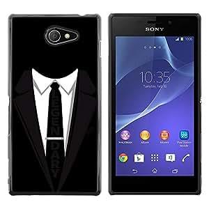 Be Good Phone Accessory // Dura Cáscara cubierta Protectora Caso Carcasa Funda de Protección para Sony Xperia M2 // Suit Tie Black Legendary Businessman Slogan