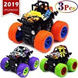 CozyBomB Friction Powered Monster Trucks Toys for Boys - Push and Go Car Vehicles Truck Jam Playset, Inertia Vehicle Cars, Kids Birthday Christmas Party (Purple,Green,Orange)