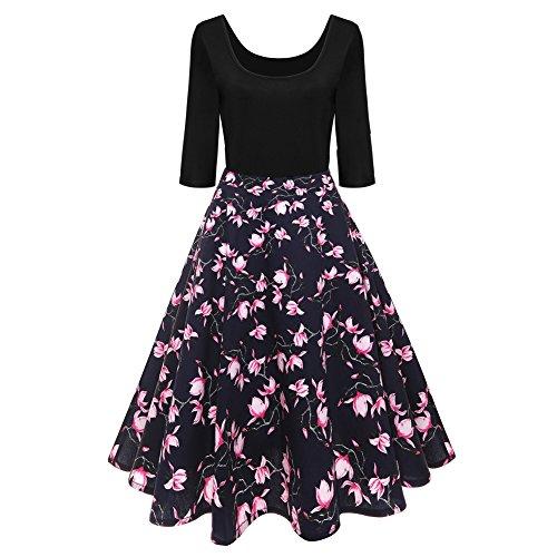 iBaste Damen 50s Retro ALinie Vintagekleid Rockabilly Kleid ...