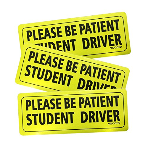 Yacoto FBA_P01 Set of 3 Please Be Patient Student Reflective New Driver Decal Vehicle Car Signs Magnetic Safety Sticker, 3 Pack