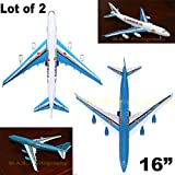 erector empire state building - LOT OF 2 (TWO) A380 BIG PULL CORD COMMERCIAL AIRPLANE PLANE ASSEMBLE TOY FUN