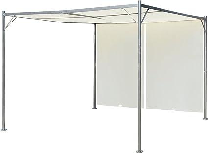 vidaXL Cenador de Acero con Toldos Retráctiles Blanco Crema 3x3x2,25 m Pérgola