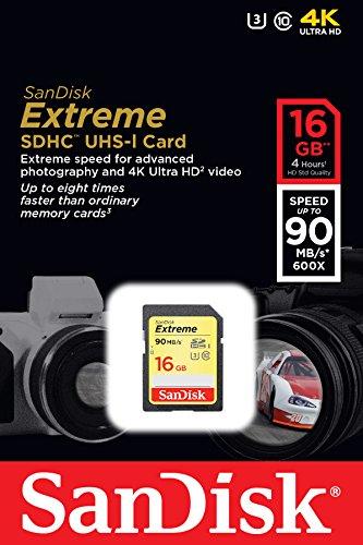 SanDisk Extreme SDHC UHS-I/U3 16GB Memory Card Up To 90MB/s Read - SDSDXNE-016G-GNCIN (Newest Version) (SDSDXNE-016G-GNCIN)