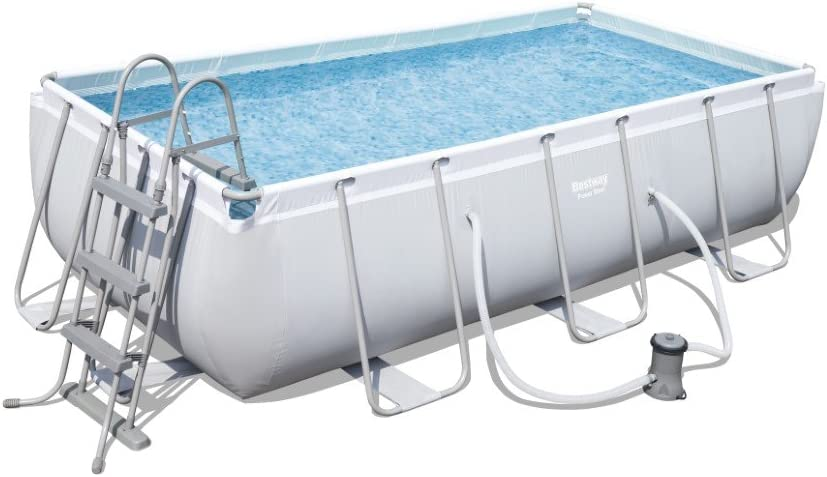 Bestway Power Steel Rectangular Pool Set 404 X201 x100 cm Marco de Acero de Piscina Set con Bomba de Filtro: Amazon.es: Jardín