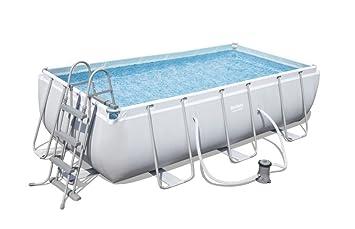 Bestway Power Steel Rectangular Pool Set 404 X201 x100 cm Marco de Acero de Piscina Set con Bomba de Filtro: Amazon.es: Jardín
