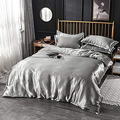 Image of Home and Kitchen Amuze Bedding Ultra Soft Silk Satin 1-Peice Comforter with Microfiber Filling Duvet Insert(Full/Queen XL,Silver Gray)