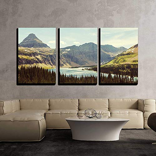 Anzona 3 Panel Canvas Wall Art Paintings, Glacier National Park Montana, Modern Home Decor Stretched and Framed Ready to Hang Wall Decor, 16''x20''x3 Panels