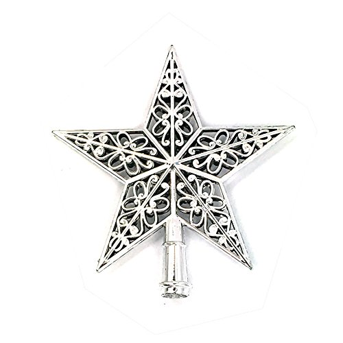 Christmas Tree Topper Hanging Treetop Sparkle Stars Top Party Home Office Decor Holiday Ornament (Silver)