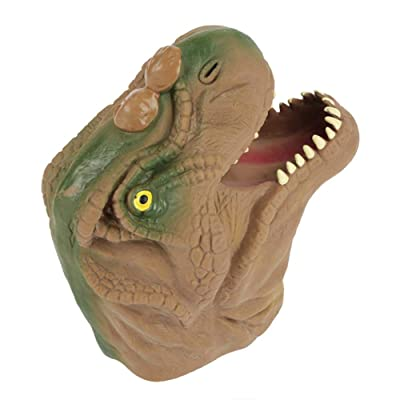 Hztyyier Soft Dinosaur Hand Puppet Toys, Rubber Realistic Dinosaur Hand Puppet Tyrannosaurus Rex Dinosaur Hand Puppet Kids Parents Interactive Toy(Brown): Toys & Games