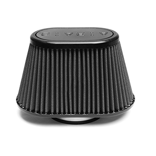 Airaid 722-440 Universal Clamp-On Air Filter: Oval Tapered; 3.5 in (89 mm) Flange ID; 5 in (127 mm) Height; 8.5 in x 5.25 in (216 mm x 133 mm) Base; 6 in x 3.688 in (152 mm x94 mm) Top