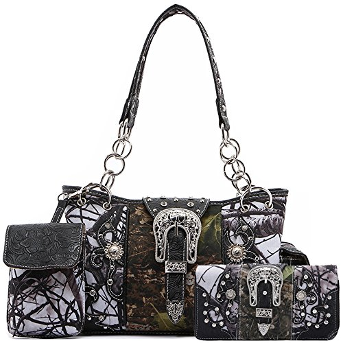 Western Style Camouflage Concealed Carry Purse Buckle Country Studs Women Handbag Shoulder Bag Wallet Set (Black Set)
