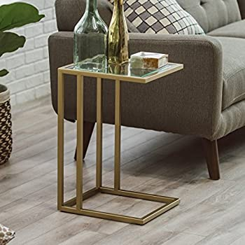 Rectangular C Table Made of Metal and Glass in Gold Finish