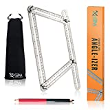 Angle Ruler Angleizer Template Tool-Upgraded Stainless Steel Multi Measuring Tool for handymen, Carpenters, Craftsmen, Tilers and DIYers-GREAT GIFT: Includes Bonus Carpenter Pencil and Protective Bag.