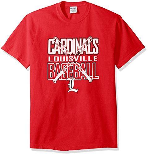 NCAA Louisville Cardinals Baseball Bats Short Sleeve Comfort Color T-Shirt, Medium,Red