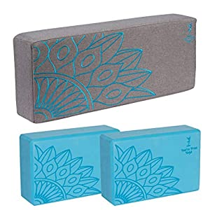 Well-Being-Matters 5178vBJowdL._SS300_ You're Free Yoga, Premium Extra Firm Yoga Bolster and Block Set for Meditation & Relaxation w/Free eBook (Teal and Gray)