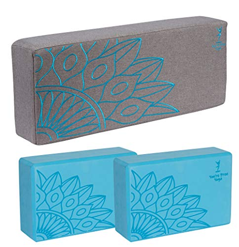 You're Free Yoga, Premium Extra Firm Yoga Bolster and Block Set for Meditation & Relaxation w/Free eBook (Teal and Gray)