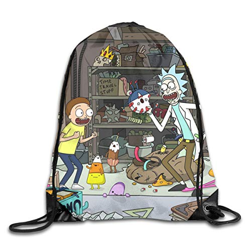 JUNIY Ri-ck and Mo-RTY Cute Drawstring Bags Backpack String Cinch Bag Swimming Sackpack Lightweight Rucksack for Picnic