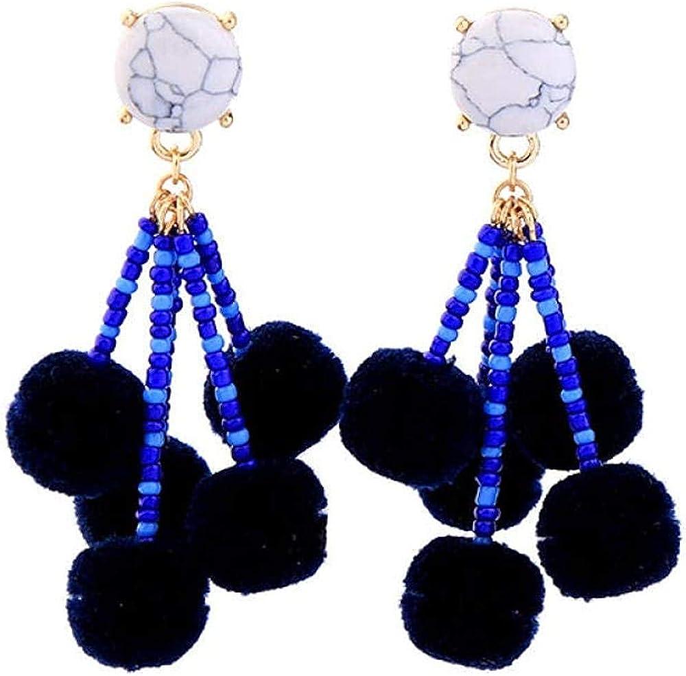 Pendientes baratos Pendientes cuentas de acrílico azul pendientes de pompón estilo étnico pendientes de piedra sintética en capas mujeres joyería