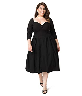 7ba65f93db0f Image Unavailable. Image not available for. Color: Unique Vintage Plus Size  1950s Style Black Bengaline Sweetheart ...