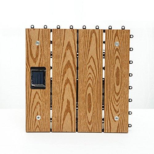 Solar Oak Laminate (Diy wood flooring/anti-corrosive wood flooring/solar led wood flooring/outdoor,balcony,stitching diy flooring-E 30x30cm(12x12inch))