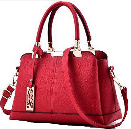 AllhqFashion Donna Satchel-Style Shopping Festa Dacron Borse a tracolla, FBUIBC181734, Blu Scuro Chiaretto