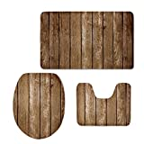 CHAQLIN Styilsh Wood Pattern 3 Pcs/Set Bathroom Carpet Toilet Floor Rug Tank Top Toilet Lid Cover for Washroom