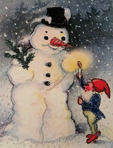 hristmas Cards ~ Snowman and Elf Vintage Style Christmas Card, Hand-Glittered, 5.5