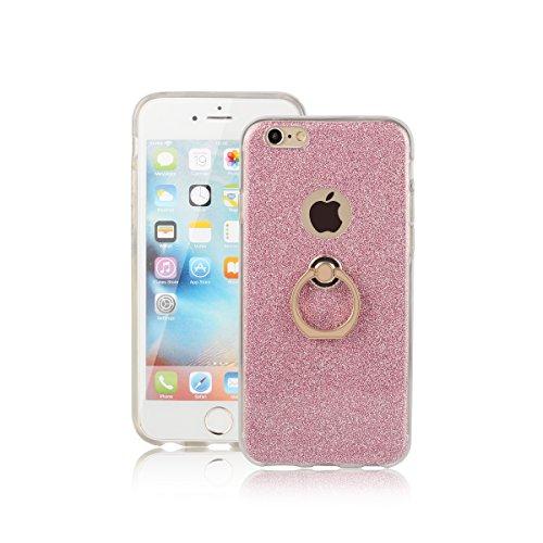 Meimeiwu Ultra Thin TPU Schutzhülle Case Hülle mit 360 Grad Rotierende Ring Ständer für iPhone 6 6S Plus - Pink