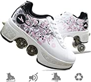 Deformation Roller Shoes Skate Shoes for Women Men, Boys Kids Wheel Shoes Roller Sneakers Shoes, for Unisex Be