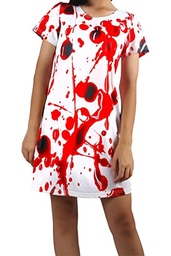 Bloody Dress (Merry21 Women's Bloody Printed Horror Halloween Tunic Dress Top White XL)
