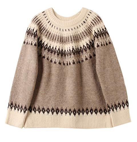 (Gihuo Women's Retro Knitted Geometric Pattern Crew Neck Chunky Pullover Sweater (Khaki, L))