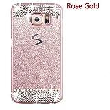 Galaxy S7 Edge Case,Inspirationc® Beauty Luxury Diamond Hybrid Glitter Bling Hard Shiny Sparkling with Crystal Rhinestone Cover Case for Samsung Galaxy S7 Edge--Rose Gold Diamond