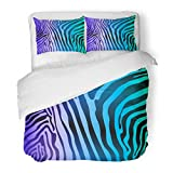 SanChic Duvet Cover Set Colorful Abstract Zebra Stripes Africa African Animal Black Camouflage Decorative Bedding Set Pillow Sham Twin Size