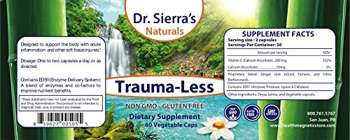 Trauma-Less - Natural Herbal Supplement with Turmeric, VIT C, Ginger Root Extract & Citrus Bioflavanoids for Acute Injuries, Anti-Inflammatory & Joint Pain Relief 60 Vegetable Capsules