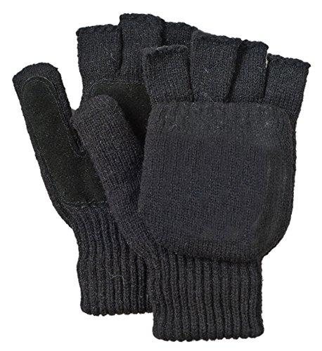 - Illinois Glove Company 361XL Rag Wool Glomitt Flip Mitten 3M Thinsulate Lined Soft Leather Grip Palm XL Black, Soft Leather Palm for Grip, Elastic Wrist, Mitten Flips Open to Expose Fingerless Gloves