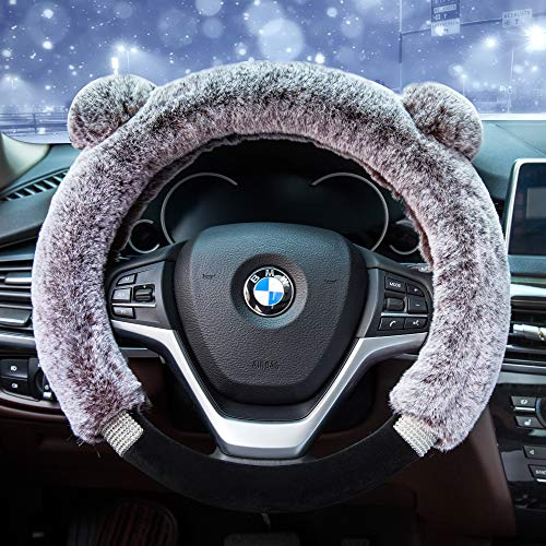 aux Wool and Bling Diamond Fluffy Fashion Steering Wheel Covers for Women/Girls/Ladies 15 Inch,Light Brown ()