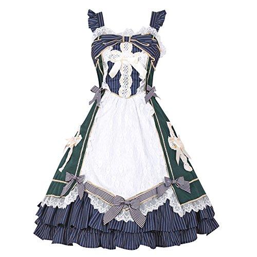 iecool Women's Retro Sleevess Bowknot Cross Sweet Classic Lolita Dress Green1 S
