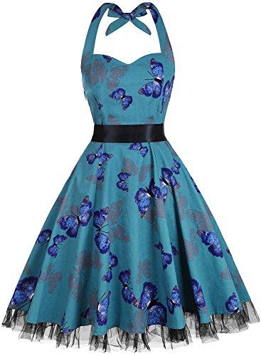 OTEN Womens Vintage Polka Dot Halter Dress 1950s Floral Sping Retro Rockabilly Cocktail Swing Tea Dresses, X-Large, Butterfly 2 ()