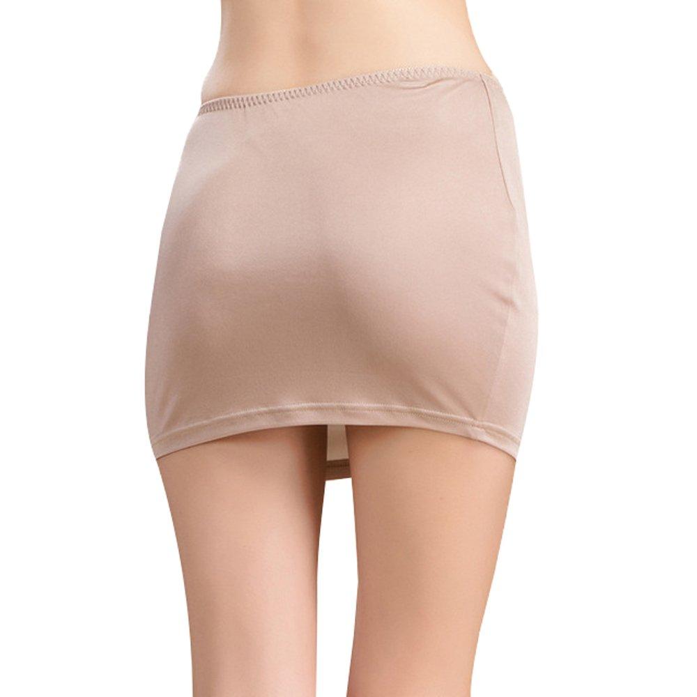 a22a13e29d Hoffen Women s Pure Silk Underskirt Petticoat Mini Half Slip (Beige ...