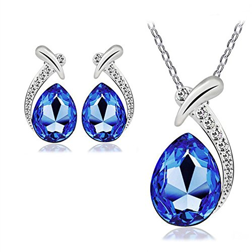 Nakabh Valentines Collection Elegant Blue Austrian Crystal TearDrop Pendant and Earrings Combo
