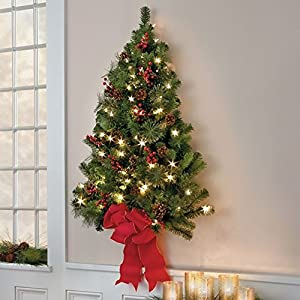 Classic 3 Ft. Christmas Pre Lit Wall Tree Decoration | Perfect For The  Holiday Home Indoor / Outdoor Decor By The Front Door