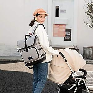 Diaper Bag Backpack Diaper Bag Baby Registry Search Dad Diaper Bag Gender Neutral Baby Stuff Large Diaper Bag (Gray)