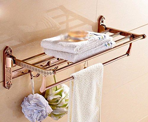 GGHYYO Towel shelf shower room kitchen Shelf Carved Holder Flowers Foldable Rose Gold Color 62x25x18