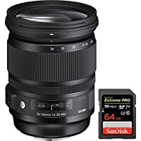 Sigma 24-105mm F/4 DG HSM A-Mount ART Lens for Sony SLR (635-205) with Sandisk Extreme PRO SDXC 64GB UHS-1 Memory Card