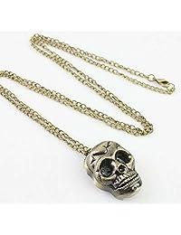 GG Pinkey Unisex Mini Pocket Watch Bronze Skull with Necklace