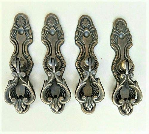 4 Antique Tear Drop Brass Handle pulls w. Screws 3 3/4